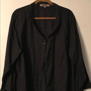 Black linen button down top size 1G by Flax